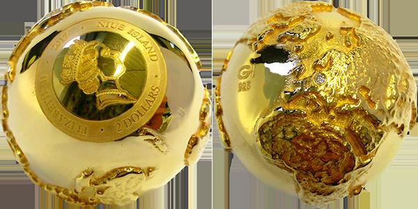 Золотой глобус в 3D с бриллиантом