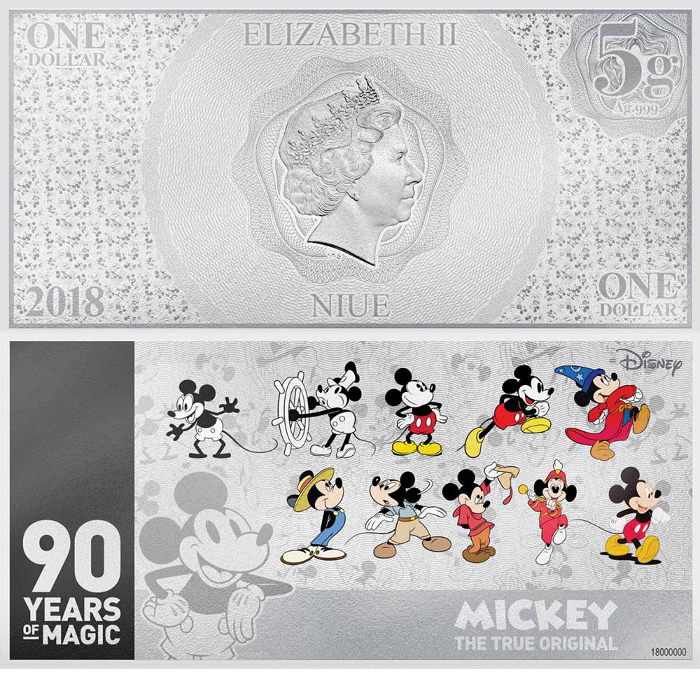 Серебряная банкнота с Микки-Маусом