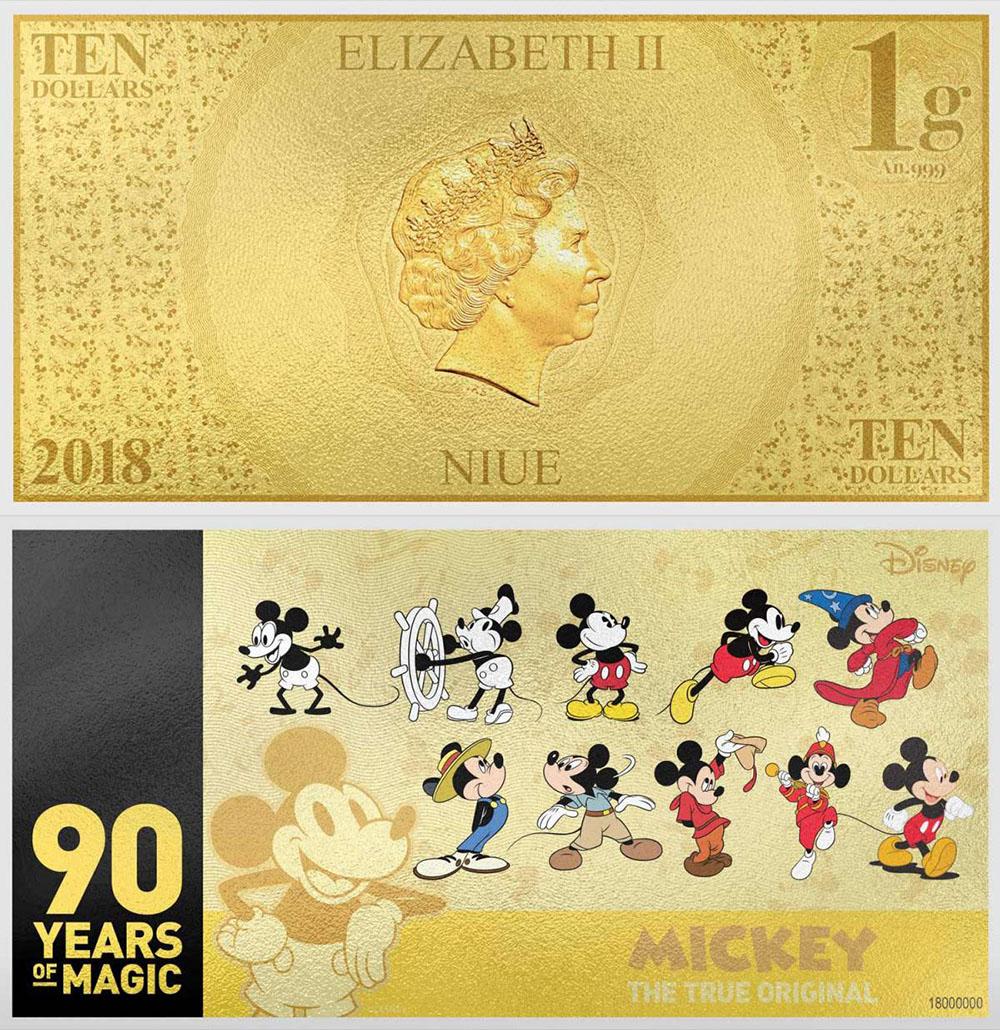 Золотая банкнота с Микки-Маусом
