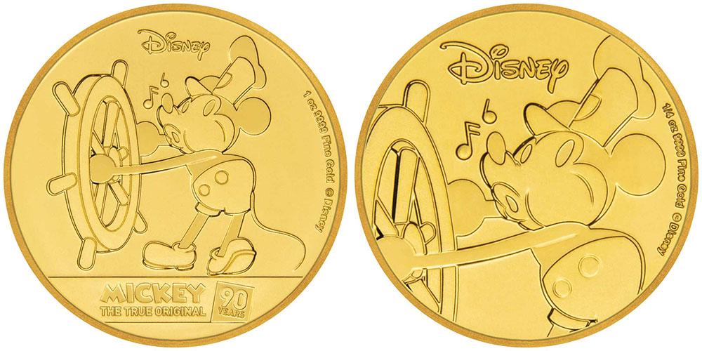 Золотые монеты с Микки-Маусом